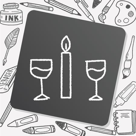 luz de velas: cena doodle de luz de las velas