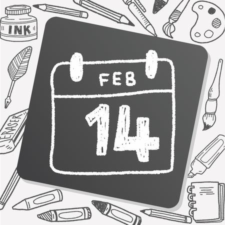 calendar day: calendar valentines day doodle drawing Illustration