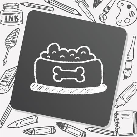 dog pen: dog food doodle drawing