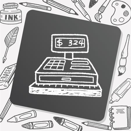 checkout: Checkout Machine Doodle Illustration