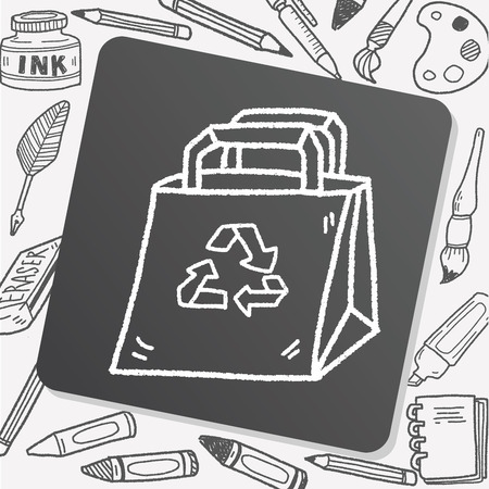 or recycled: Environmental protection concept; Recycled shopping bag; doodle