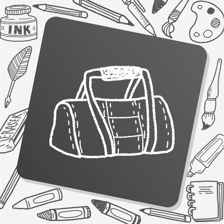 duffel: sport bag doodle Illustration