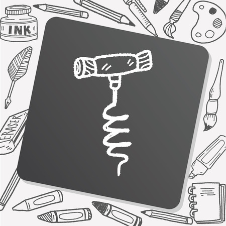bottle screw: wine corkscrew doodle Illustration