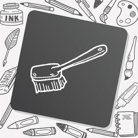 dust pan: clean brush doodle