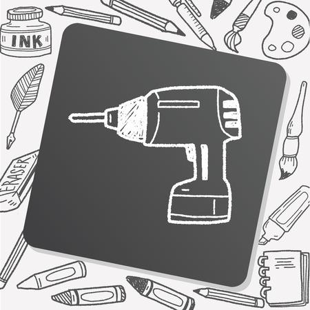 cordless: drill doodle Illustration