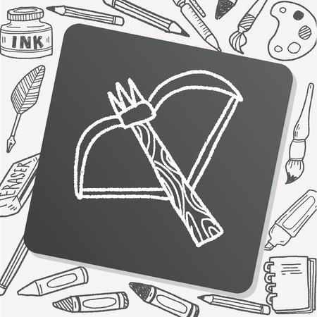 arrow and bow doodle 向量圖像