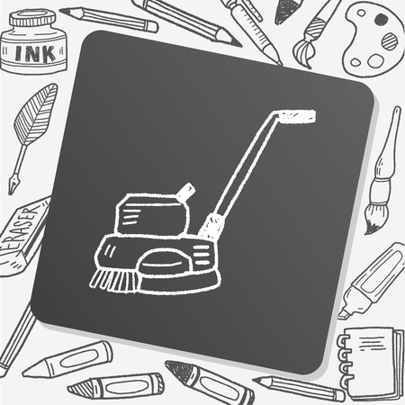 janitorial: floor buffing machine doodle