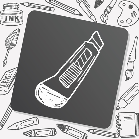 box cutter: utility knife doodle Illustration