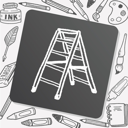wooden stairs: Ladder doodle Illustration