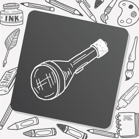 electric torch: Flashlight doodle Illustration