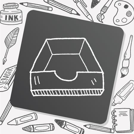 stack of files: file box doodle Illustration