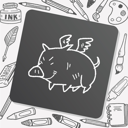 pig with wings: flying pig doodle
