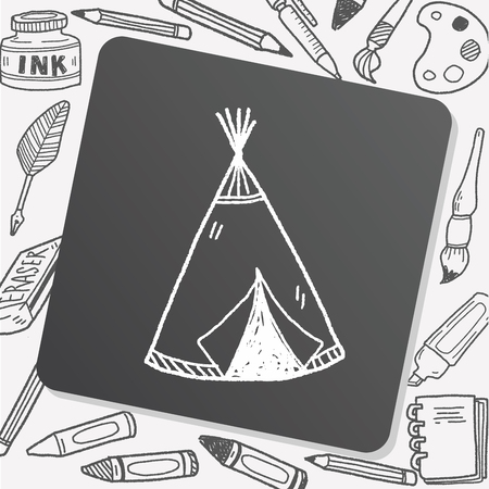 old sign: Indians tent doodle