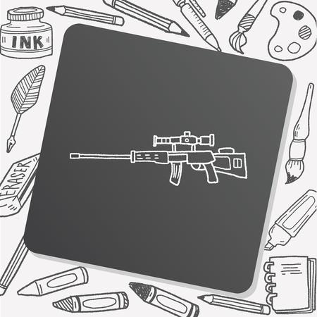 sniper: Sniper rifle doodle Illustration