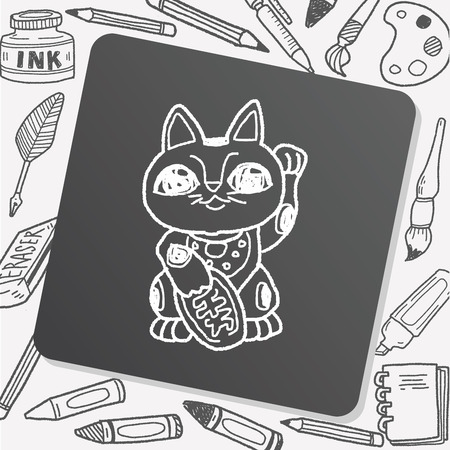 lucky cat: Lucky Cat doodle Illustration