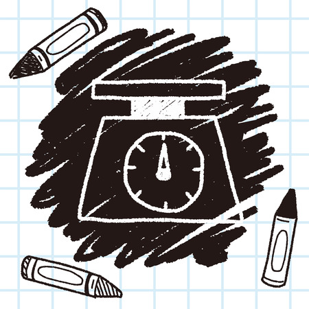 scale: scale weight doodle drawing Illustration
