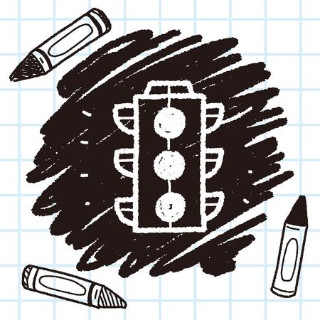 doodle traffic lights Illustration