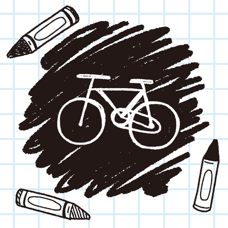 emissions: Environmental protection concept; More cycling to reduce emissions; doodle Illustration