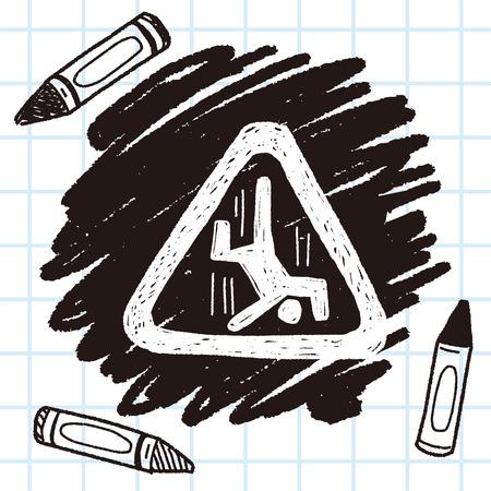 slip hazard: people fall sign doodle