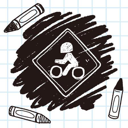no entrance: motorcycle doodle Illustration