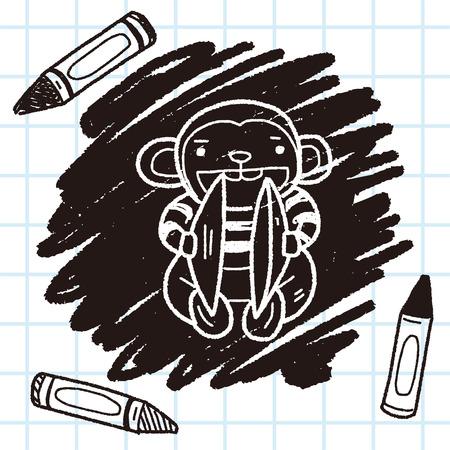 monkey toy doodle Illustration