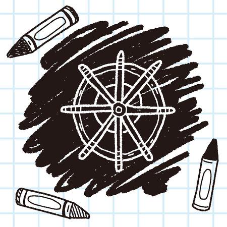 Steuerruder: Rudder doodle Illustration