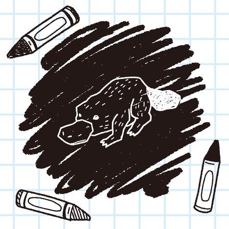platypu doodle 向量圖像