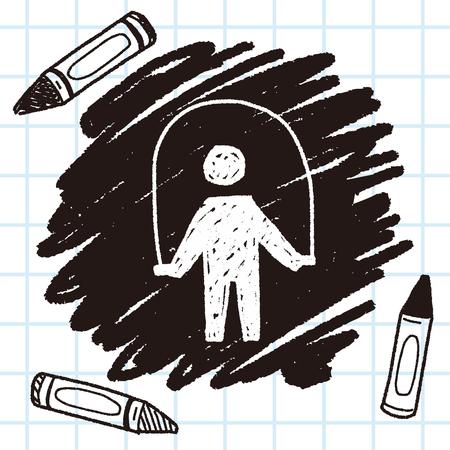 saltar: Cuerda que salta doodle Vectores