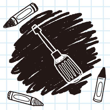 screwdrivers: Screwdrivers doodle Illustration