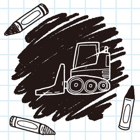 weight machine: truck doodle Illustration