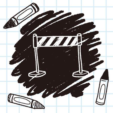 traffic barricade: stop sign doodle Illustration