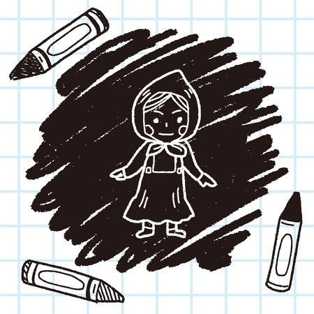 dutch: Dutch woman doodle Illustration