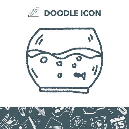 fish tank: doodle pet fish Illustration