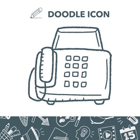 fax machine: fax machine doodle icon. Illustration