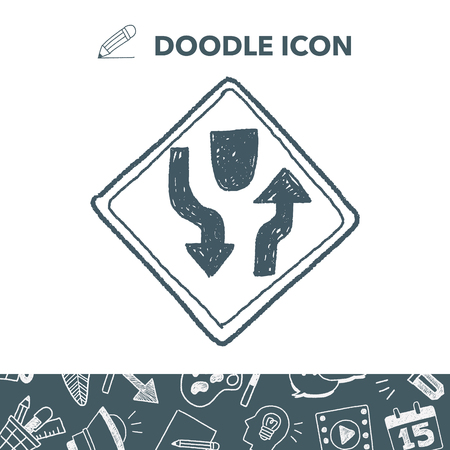 danger ahead: Traffic merges doodle