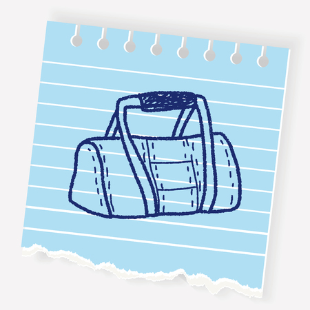 gym equipment: sport bag doodle Illustration