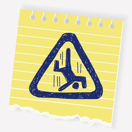 trip hazard: people fall sign doodle