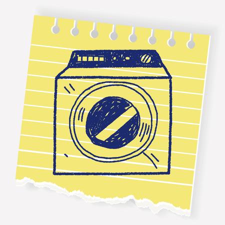 washing machine doodle Ilustracja