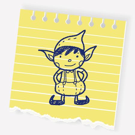 Natale elfo Doodle Archivio Fotografico - 80640919