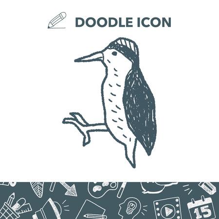 woodpecker doodle Illustration