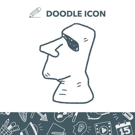 moai doodle Stock Vector - 81571004