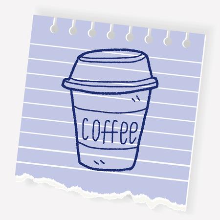Een koffie doodle illustratie.