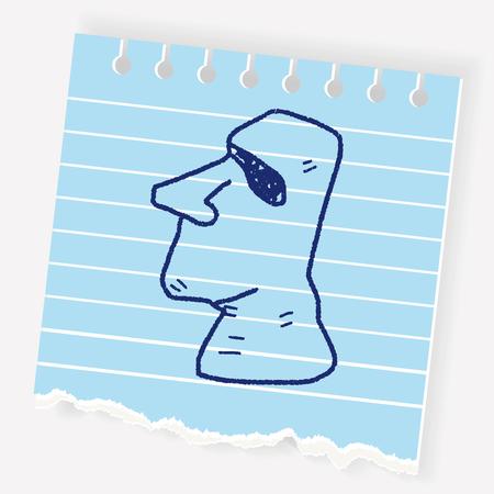 Moai doodle. Illustration