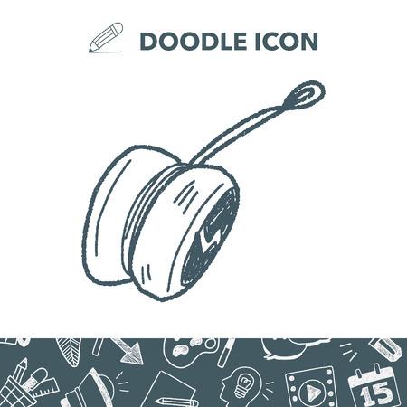 play yoyo: Yo-yo doodle. Vector illustration.