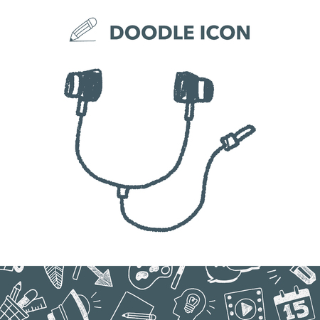 music: Doodle Headphone. Vector illustration.