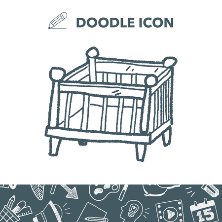 Baby bed doodle Vector illustration.