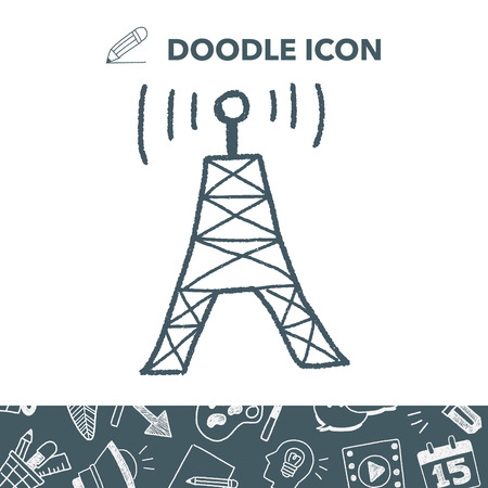 wireless icon: Doodle satellite Vector illustration.