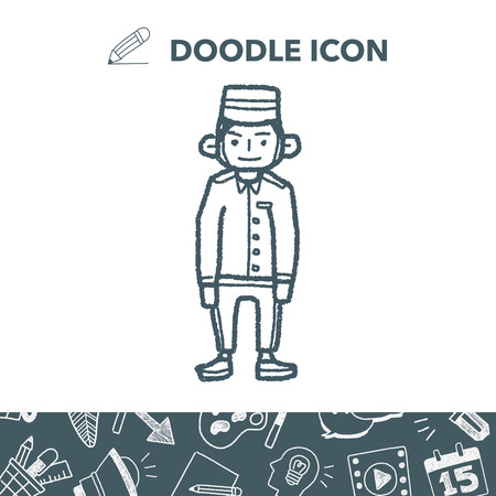 Doorman doodle Vector illustration. Illusztráció