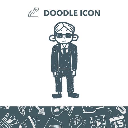 Bodyguard doodle Vector illustration.
