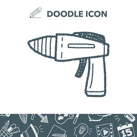 Toy gun doodle Vector illustration.